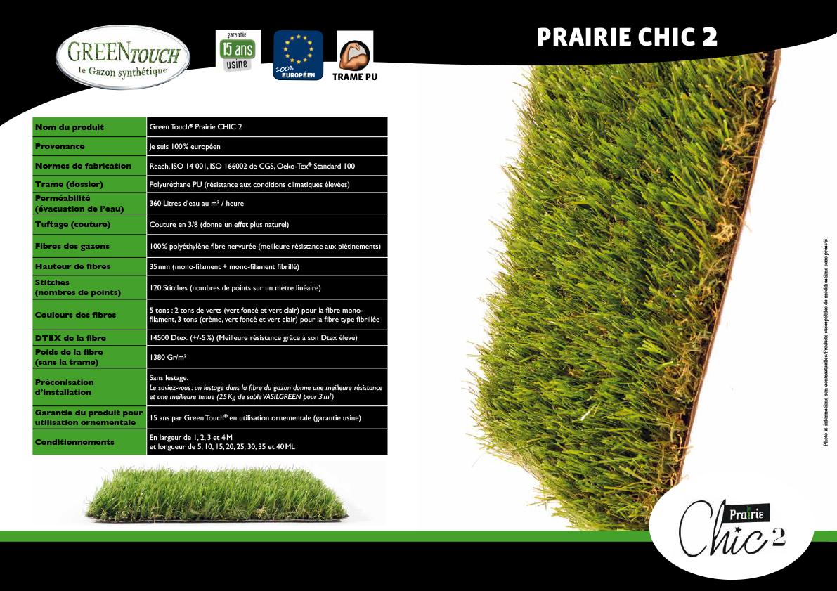 Fiche technique gazon synthetique green touch prairie chic