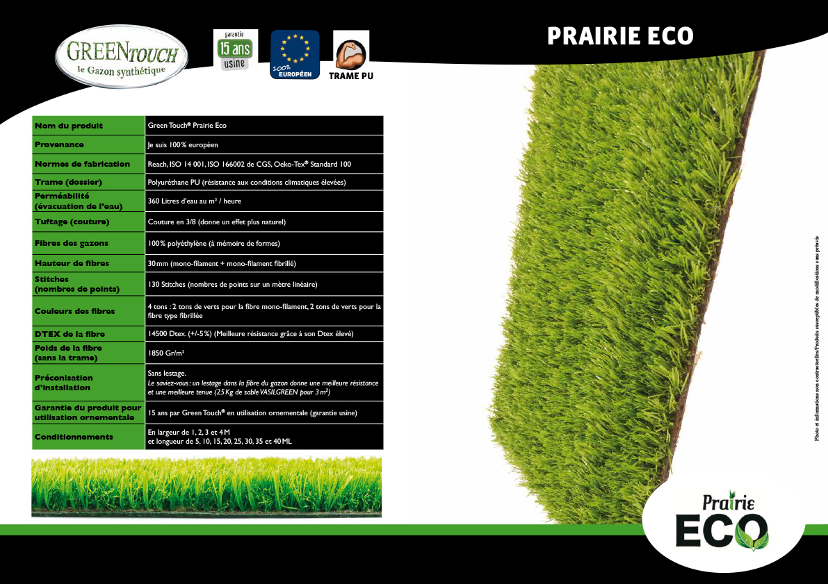 Fiche technique gazon synthetique green touch prairie eco
