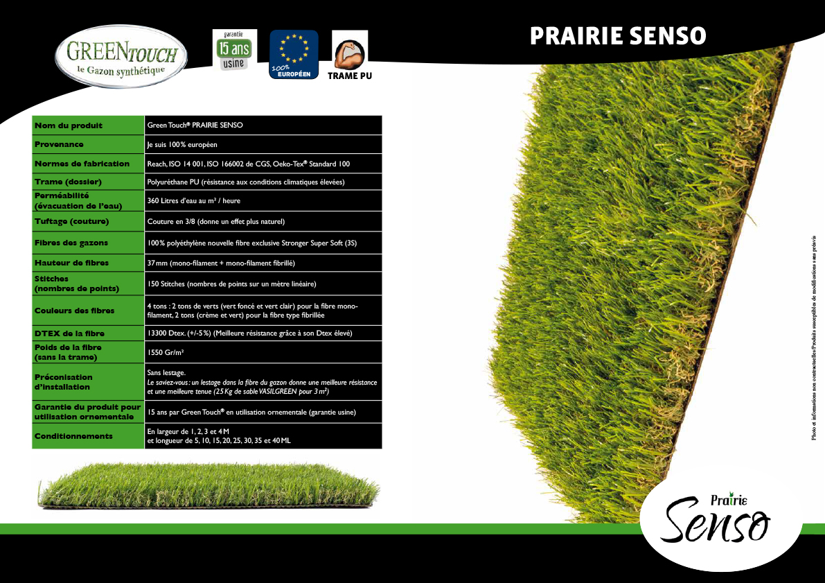 Fiche technique gazon synthetique green touch senso